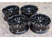 "20"" Axe Design EX30 Staggered Alloy Wheels Black VW T5 T6 Load Rated 850kg BMW 3 5 7 Series"