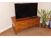 Antique wood tv unit with dvd drawer and storage drawers
