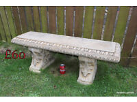 solid stone bench garden ornaments