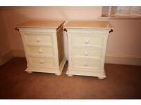 Two solid bedside tables with 3 drawers
