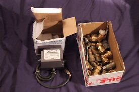 Salus motorised valve and box of plumbing couplings Different types & bores
