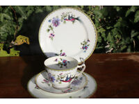 Vintage Paragon China Trio & Side Plate Unusual Handpainted Purple Bird Flower Cup Antique