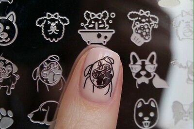 Nail Art Stamp Cute Dog Design DIY Manicure Metal Template Image Plate L016