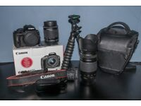 Canon 100D with 18-55mm lens and 70-300mm lens, 2 extra batteries, tripod and camera bag