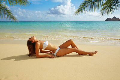 Asian Woman Beauty Laying On Tropical Beach Photo Art Print Poster - Tropical Lay