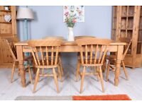 DELIVERY OPTIONS - 6 FT SOLID PINE FARMHOUSE TABLE 1 DRAWER & 6 BEECH CHAIRS