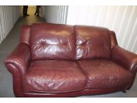 Burgundy Leather 3 Seater Sofa