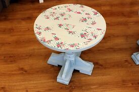 Conservatory Small Shabby Chic Side Tables with Roses print