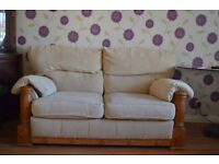 2 seater wooden sofa cream color for sale