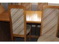 Oak dining room table plus 8 chairs