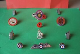13 Mixed Poppy /RAF/Somme/Edward V11 Pin Badges collectable badges
