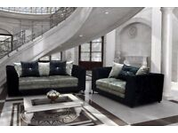 NEW 3 + 2 BLK/SIL CRUSHED VELVET-SOFA SET INCLUDES FREE DELIVERY & FREE MATCHING STOOL FOR £289.99