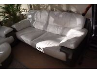 SOFAS - TWO AND THREE SEATER LEATHER WITH FOOTSTOOL, FROM DFS