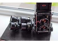 Mamiya C330 + 3 lenses 65mm 80mm 135mm CLA-ed medium format 120 6x6 camera