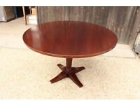 Round Wood Dining Table from a Restaurant