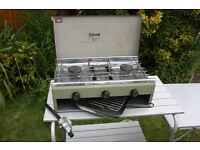 Camping LPG fuelled, two ring one grill stove.