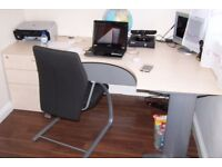 office desk, chair, 2 chest of drawers