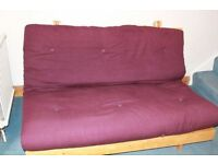 "FUTON COMPANY ""Orlando"" Double Futon Sofa Bed, Burgundy + Hardwood Base, Sofabed, + I CAN DELIVER"