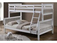 AMAZING COLOUR TRIO WOODEN BUNK BED FRAME DOUBLE BOTTOM & SINGLE TOP HIGH QUALITY