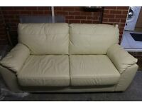 Cream Leather Sofa that converts to bed