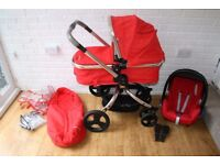Mothercare Orb Red Canvas pram pushchair with car seat 3 in 1 ***will post***
