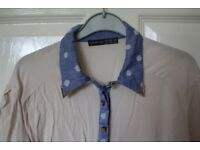 Cute lightweight blue and white atmosphere shirt with polkadots and collar detail