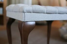 Stuart Jones Queen Anne dressing table stool - walnut with linen fabric