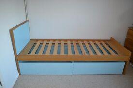 Solid wooden single bed frame