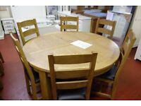 Clearance New Salisbury Large Thick Oak 5ft 150 Cm Round Dining Table Seats Up