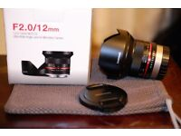 Samyang f2.0/12mm fuji mount used 4 or 5 times mint filter on from new