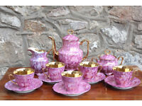 Vintage Purple Tea Set Coffee Set Gold Gilded Walbrzych Polish Porcelain Cup Saucer Jug Coffee Pot