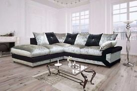 BRAND NEW CRUSHED VELVET SOFA == BOTH LEFT HAND SIDE AND RIGHT HAND SIDE == AVAILABLE IN STOCK