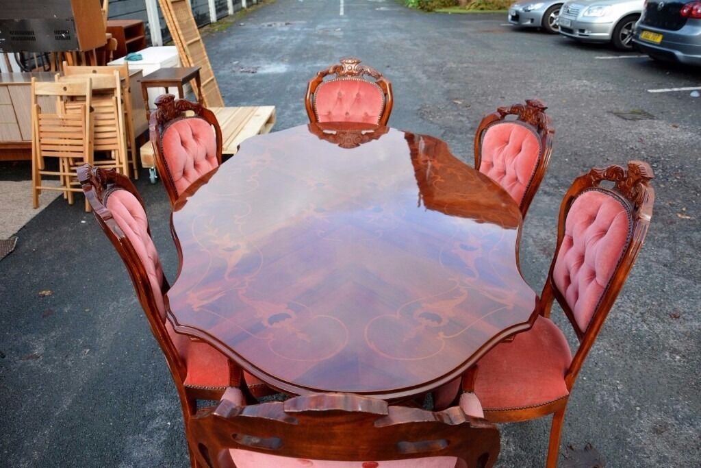 Mahogany Inlaid Marquetry Dining Table In Italian Rococo Style