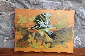 Handmade Bird Picture Decoupage on Wood By Deirdre Drake Woodpecker 3D effect Art Picture Unusual