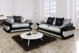CHEAPEST PRICE OFFERED-- Brand new Dino Crushed Velvet 3 + 2 Sofa Or Corner Sofa in Black silver