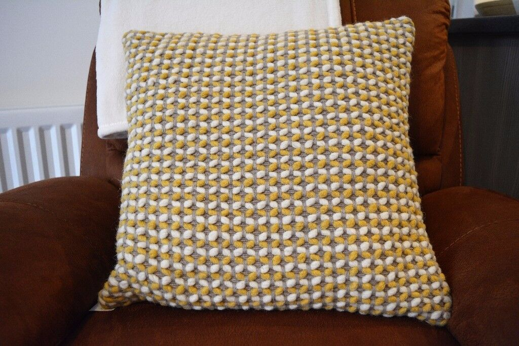Next Hand Woven with Wool Yarn Textured Cushion- With Original Tags