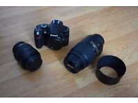 Nikon D3200 with 18-55 and 55-300 lens.