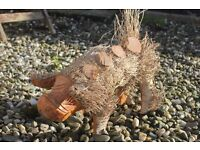 ONE FAB HAND-CARVED FAIR TRADE LARGE PIG – SUITABLE FOR THE GARDEN OR INDOORS – GREAT PRESENT
