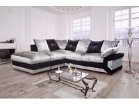 NEW DOUBLE PADDED DINO CRUSHED VELVET CORNER SOFA OR 3 AND 2 SOFA