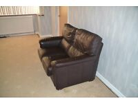 x2 Chocolate Brown Leather Sofas, used. Good condition, no scuffs or worn areas
