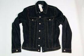 New Men's Black Diesel J-els Veste Studded Denim Jacket RRP£640
