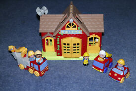 Happyland Fire Station with vehicles and figures