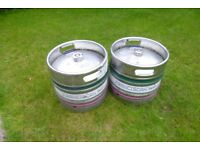 Beer Keg x 2 (smaller size) - Can be made into a Garden Stool/ Table/ BBQ - Empty - £50 For The Pair
