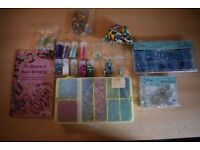Assorted Jewellery making supplied, beads, jump rings, guide