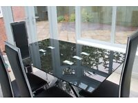 Modern Glass Dining Table and 6 Chairs for Sale