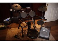 Roland TD-6V Electric Drum Kit + PM-10 Personal Monitor + Extras