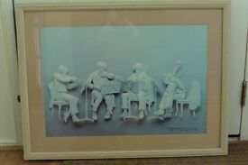 LARGE COMICAL PICTURE OF MUSICIANS -THE REHEARSAL -REINNARD 1976