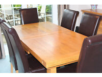 Solid Oak Rustic Style Extending Dining Table