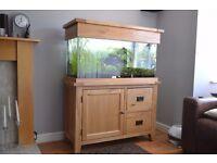 Aqua Oak 110cm 'Doors & Drawers' Aquarium, full tropical set-up