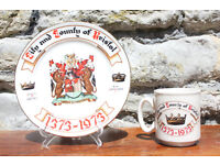 Vintage Bristol 1373 - 1973 plate and Cup 600th Year Since Foundation of Bristol City and County Mug